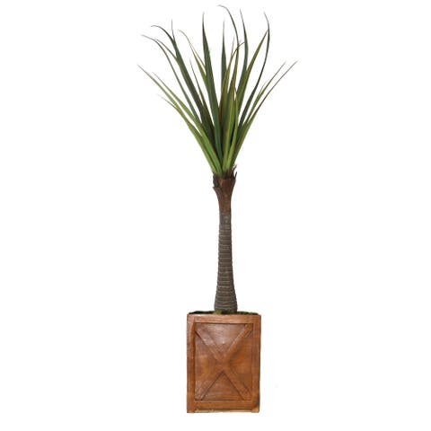 """81"""" Real touch agave in Fiberstone Planter"""