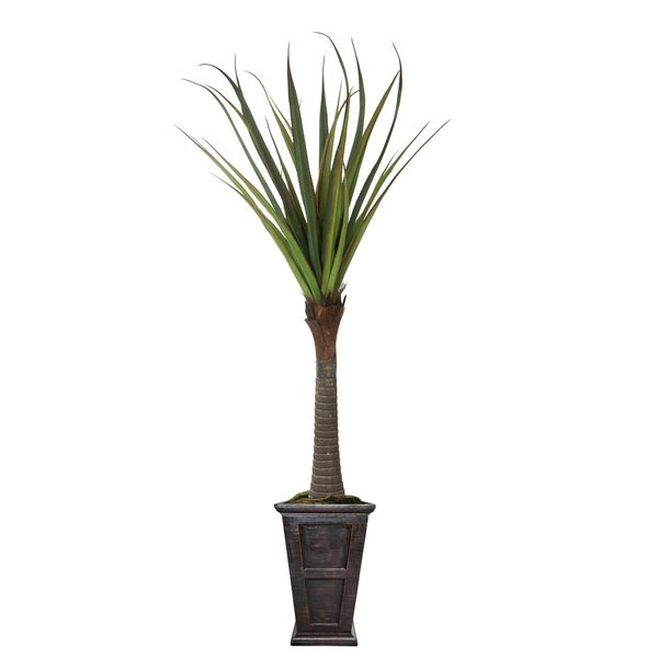 """91"""" Real touch agave in Fiberstone Planter"""