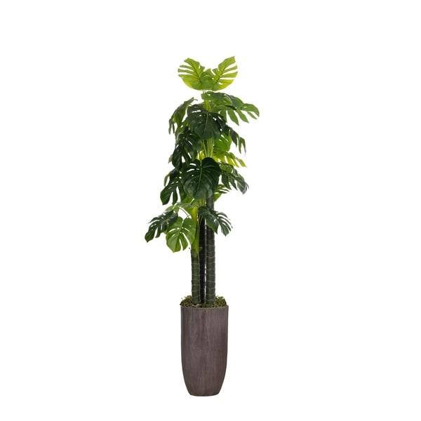 "Laura Ashley 86.25"" Tall Monstera Ceriman, Artificial Indoor/ Outdoor Faux Décor in Resin Planter"