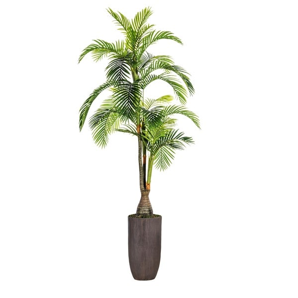 """Laura Ashley 100.25"""" Tall Palm Tree, Artificial Indoor/ Outdoor Faux Décor in Resin Planter"""