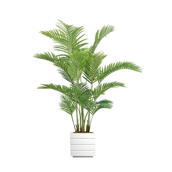 """Laura Ashley 77"""" Real Touch Palm Tree in Fiberstone Planter"""