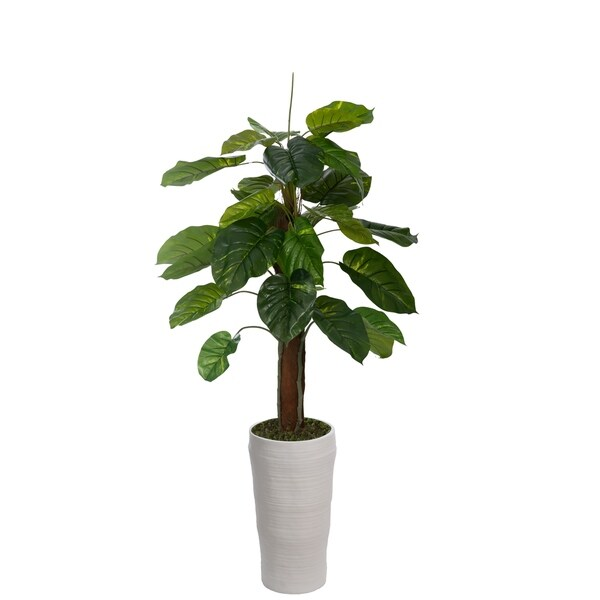 """Laura Ashley 69"""" Real touch greenery in Fiberstone Planter"""