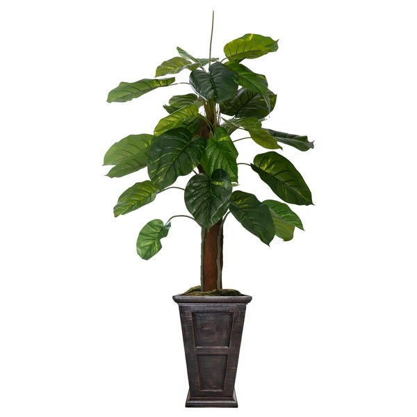 """Laura Ashley 67"""" Real touch greenery in Fiberstone Planter"""
