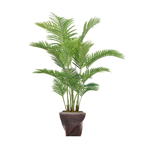 """Laura Ashley 80.5"""" Real Touch Palm Tree in Fiberstone Planter"""