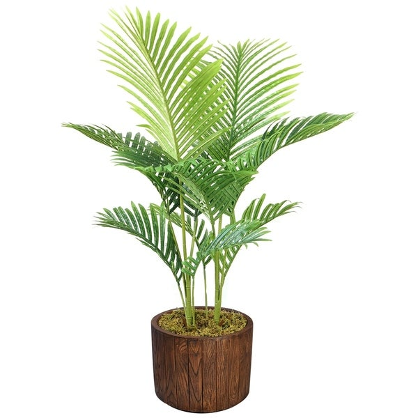 """Laura Ashley 49"""" Real Touch Palm Tree in Fiberstone Planter"""