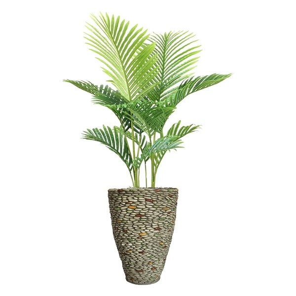 """57.5"""" Real Touch Palm Tree in Fiberstone Planter."""