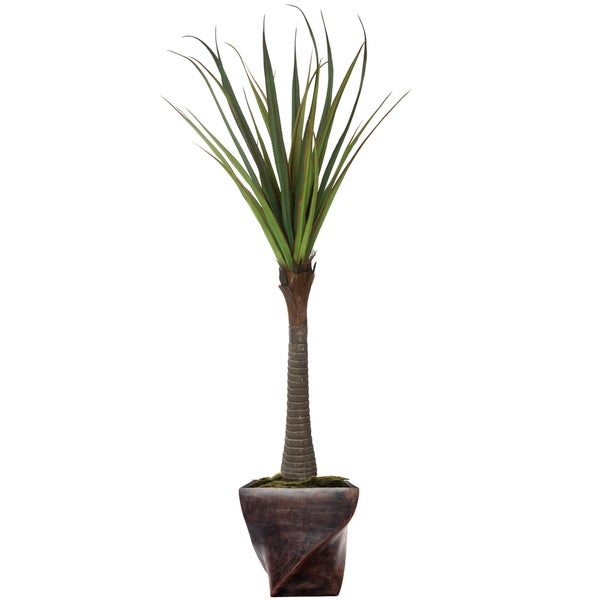 """81.5"""" Real touch agave in Fiberstone Planter"""