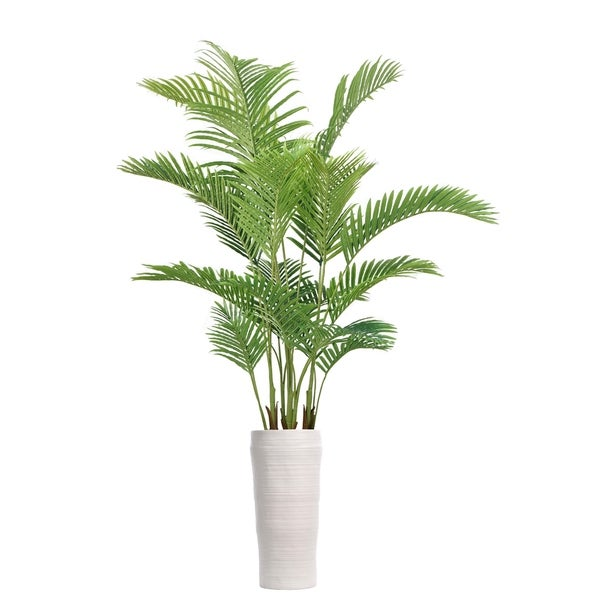 """92"""" Real Touch Palm Tree in Fiberstone Planter"""