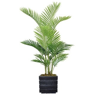 "Laura Ashley 62"" Real Touch Palm Tree in Fiberstone Planter"