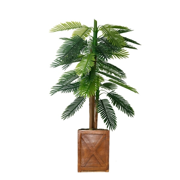 """67"""" Real touch palm tree in Fiberstone Planter"""