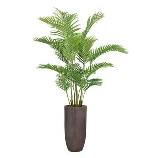 """Laura Ashley 85.25"""" Real Touch Palm Tree in Fiberstone Planter"""