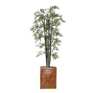 """81"""" Tall Bamboo Tree with Decorative Black Poles and Fiberstone Planter"""