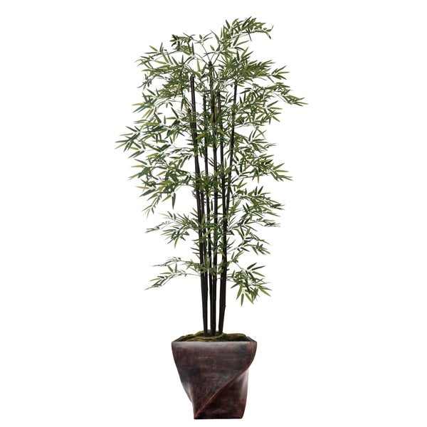 """81.5"""" Tall Bamboo Tree with Decorative Black Poles and Fiberstone Planter"""