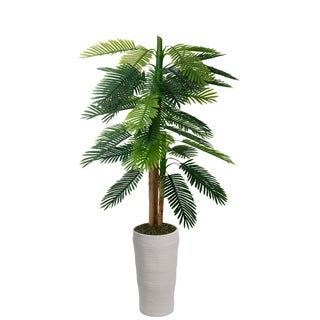 "Laura Ashley 79"" Real touch palm tree in Fiberstone Planter"