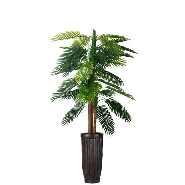 """79"""" Real touch palm tree in Fiberstone Planter"""