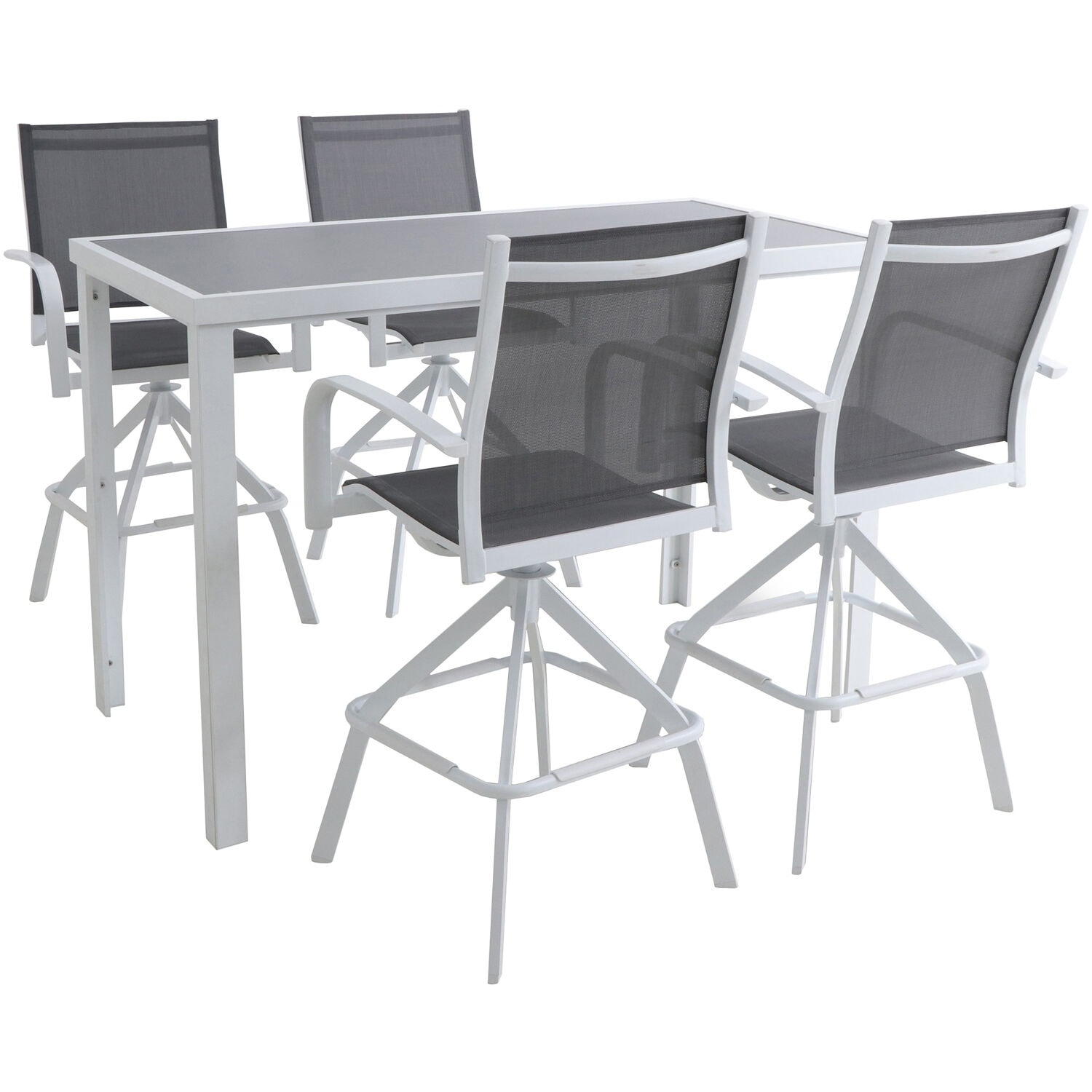 Picture of: Hanover Naples 5 Piece Outdoor High Dining Set With 4 Swivel Bar Chairs And A Glass Top Bar Table White Overstock 28365620