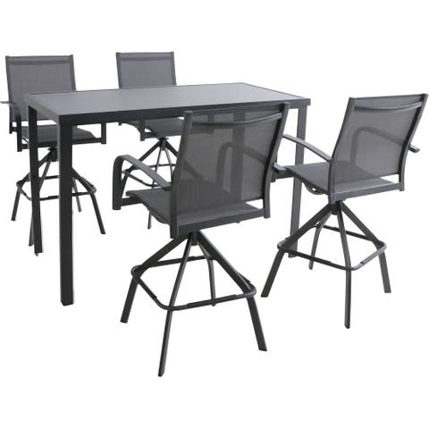 Hanover Naples 5-Piece Outdoor High-Dining Set with 4 Swivel Bar Chairs and a Glass-Top Bar Table, Gray