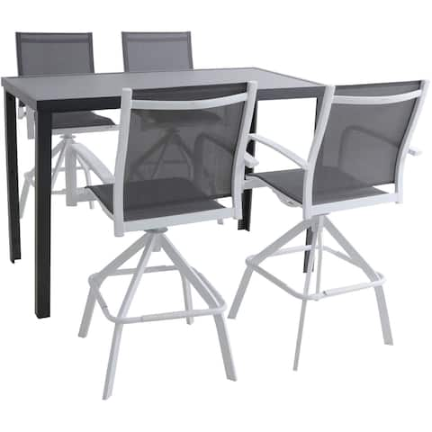 Hanover Naples 5-Piece Outdoor High-Dining Set with 4 Swivel Bar Chairs and a Glass-Top Bar Table, White/Gray