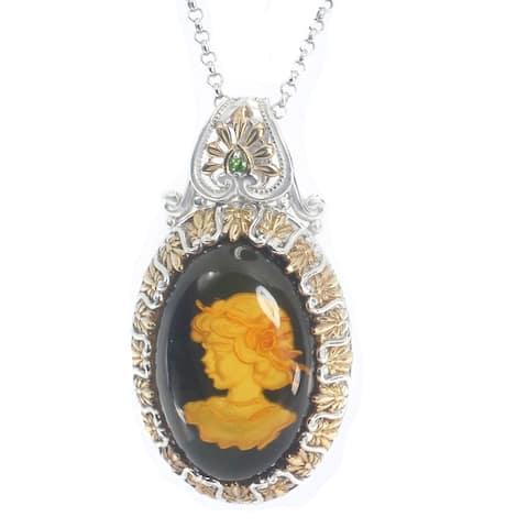 Gems en Vogue Palladium Silver Black Amber & Chrome Diopside Pendant