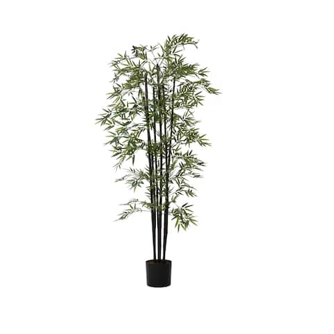 "72"" Tall Bamboo Tree Artificial Faux Decorative in Black Poles"