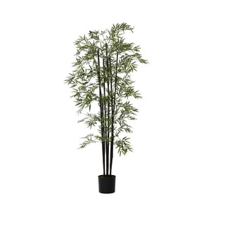 "Laura Ashley 72"" Tall Bamboo Tree Artificial Faux Decorative in Black Poles"