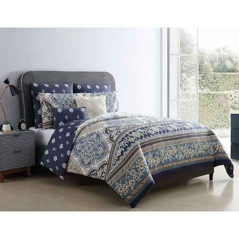 VCNY Home Brule Reversible Medallion Comforter Set