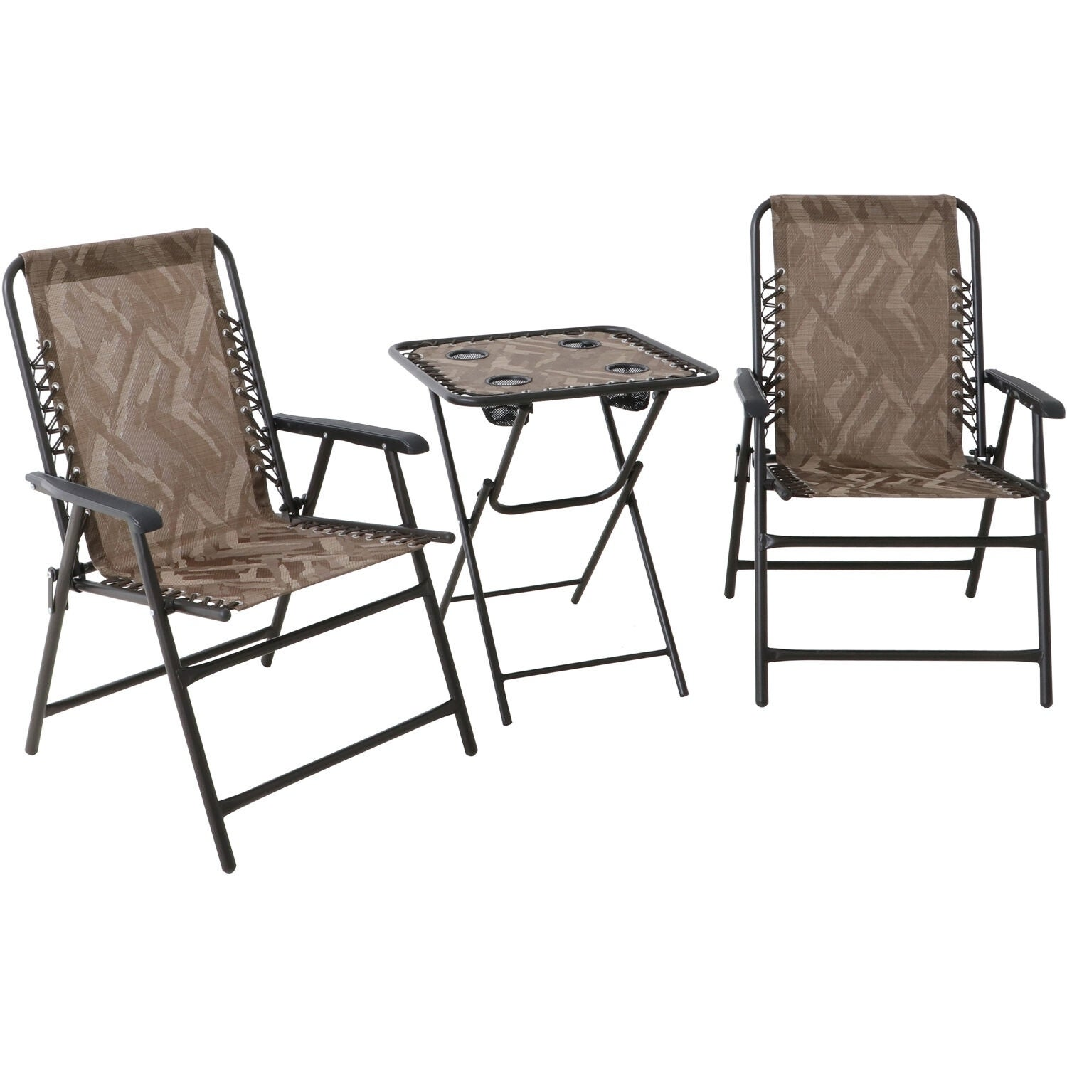 Hanover Elkhorn 3 Piece Portable Camo Seating Set Featuring 2 Folding Lawn Chairs And Folding Side Table