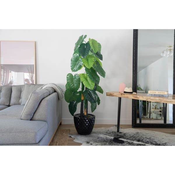 54 Real Touch Taro Plant In Fiberstone Planter 69 On Sale Overstock 28365952