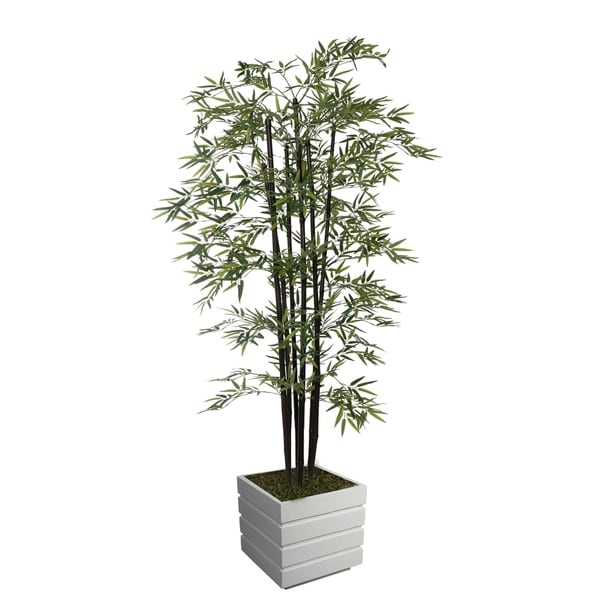 """78"""" Tall Bamboo Tree with Decorative Black Poles and Fiberstone Planter"""