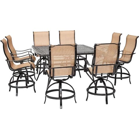 Hanover Manor 9-Piece Counter-Height Outdoor Dining Set with 8 Sling Swivel Chairs and a 60-In. Square Cast-Top Table