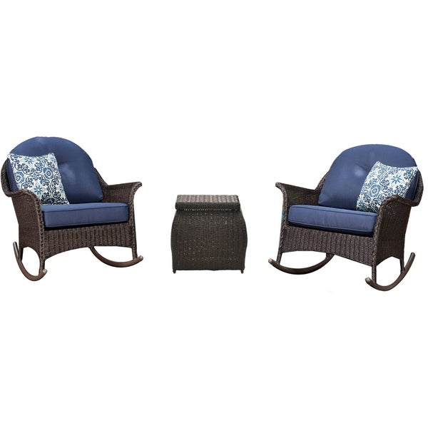 Hanover Sun Porch 3-Piece Resin Rocking Chair Set with 2 Handwoven Rocking Chairs, Side Table, and Plush Navy Blue Cushions