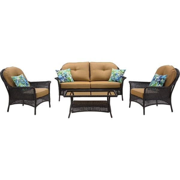Hanover Sun Porch 4-Piece Resin Lounge Set with Handwoven Loveseat, 2 Armchairs, Coffee Table, and Plush Country Cork Cushions