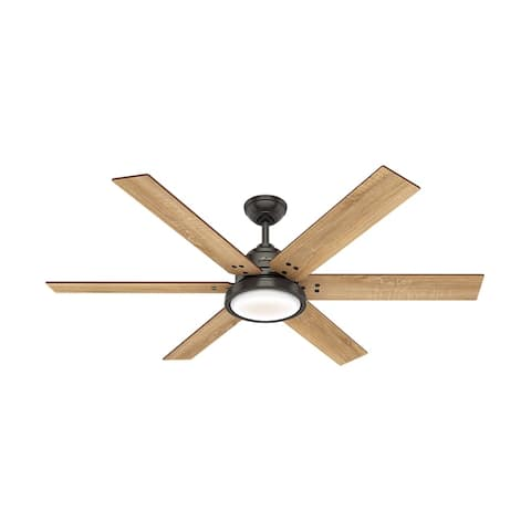 "Hunter 60"" Warrant Noble Bronze Ceiling Fan with LED Light Kit and Wall Control"