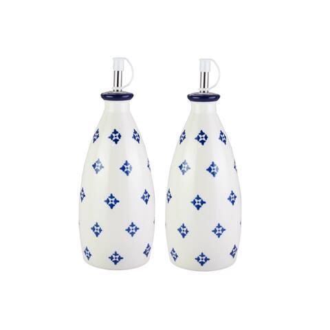 """blue stamp oil/vinegar bottle 8""""h"""