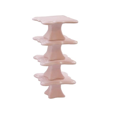 bianca pink s/4 cup cake pedestal plate,3.785x2""