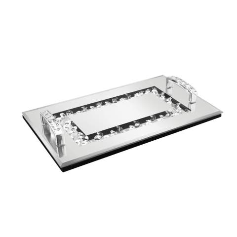 mirror tray with bling & handles 10.84x6.41 x 1.77""
