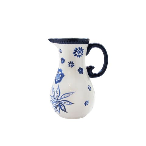 "blue pottery pitcher 9.8""h"