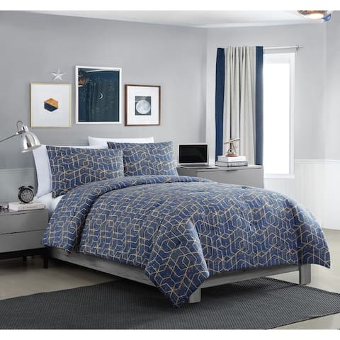 VCNY Home Ironclad Geometric Gold Comforter Set