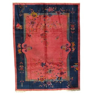 Early 20th Century Antique Chinese Art Deco Area Rug - 8′7″ × 11′7″ - 8′7″ × 11′7″