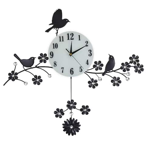 Black Birds Sitting On Black Branches Metal Wall Clock, White Gem Accents