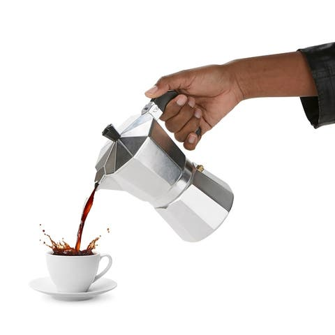 Mind Reader Stove Top Espresso Maker, Stainless Steel Coffee Maker, Coffee Maker for Gas or Electric Stovetop, Silver