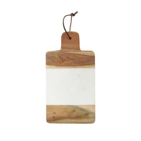 marble white w/wood cutting board