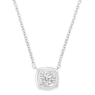 10K White Gold 1 10ct TDW Square Shaped Diamond Pendant Necklace H I SI2 I1