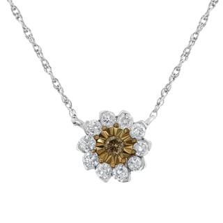 Two Tone Sterling Silver 1 2ct TDW Diamond Flower Pendant Necklace Champagne I1 I2
