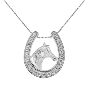 Sterling Silver 1 4ct TDW Diamond U Shape Pendant Necklace I J I3 Promo