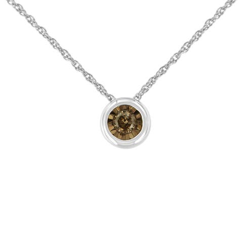 Two Toned Sterling Silver 1/10ct TDW Diamond Bezel Miracle Pendant Necklace (Champagne, I2)