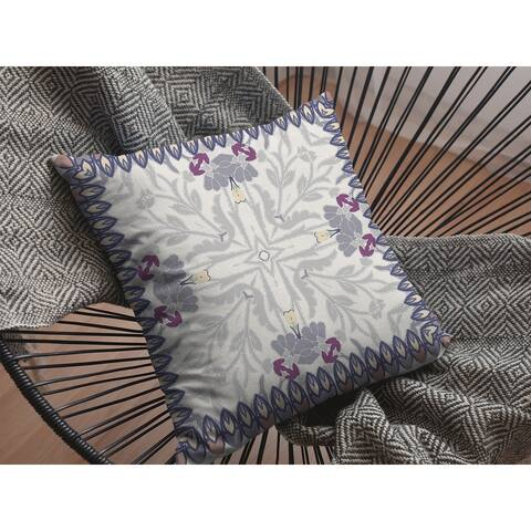 Boho Frame Suede Double Sided Decorative Pillow by Amrita Sen