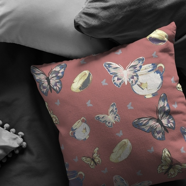 Bowls and Butterflies Suede Double Sided Decorative Pillow by Amrita Sen
