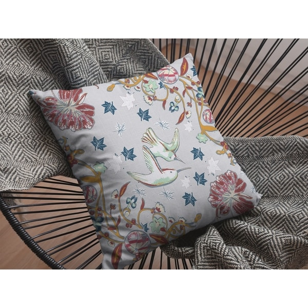 Amla Vines with Bird Suede Double Sided Decorative Pillow by Amrita Sen