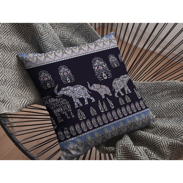 Elephant Made of Paisley Procession Suede Double Sided Decorative Pillow by Amrita Sen